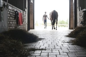 Man leading horse out of stable