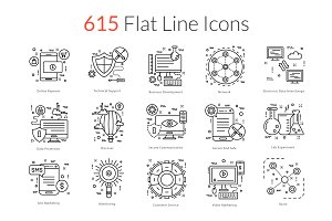 615 Flat Line Icons