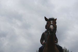 Young man horseback riding outdoor. Male jockey riding a horse on dark cloudy day. Beautiful rainy sky at background. Muzzle of stallion close up.