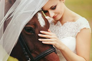 Bride's veil covers a horse head