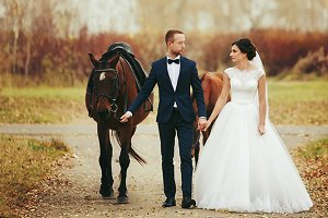 Bride and groom walk with horses