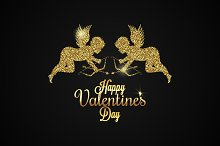 Valentines Day Card. Gold Angels