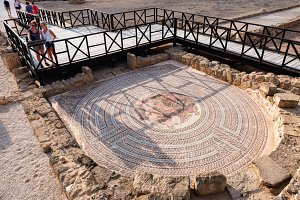 Pafos, Cyprus - July 21, 2016: Roman Mosaic At House Of Theseus, Kato Paphos Archaelogical Site
