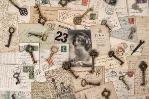 Old letters, postcards and keys