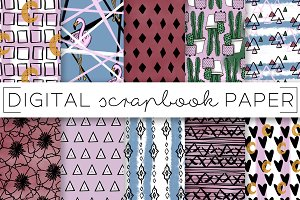 Pink Tribal Cacti Digital Paper