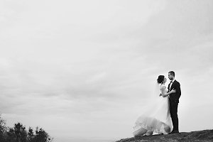 Newlyweds standing on the hill