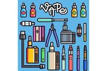 Vaping set vector.