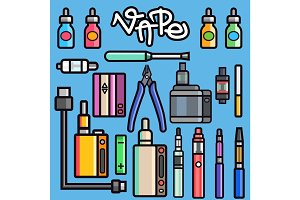 Vaping set vector.