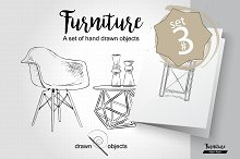 Furniture Hand drawn Vector set#3