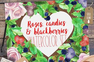 Sweets and Roses Watercolor Set