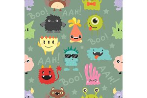 Cute monsters vector seamless pattern