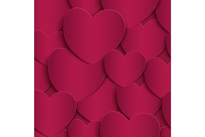 Seamless pattern with, paper hearts.