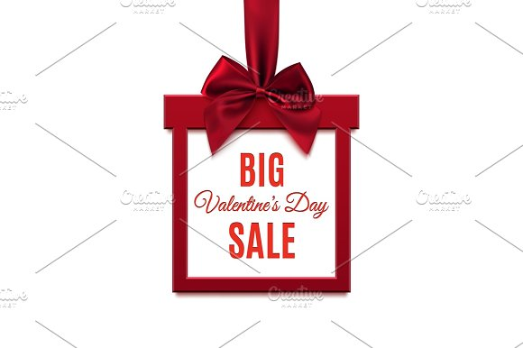Big, Valentines Day Sale. Red, square banner.