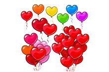 Big set of bright and colorful heart shaped balloons