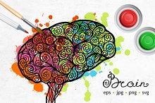 Hand Drawn Brain Set