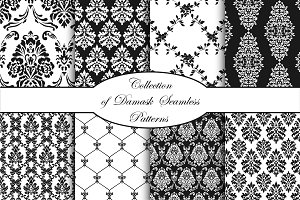 Damask vector seamless patterns