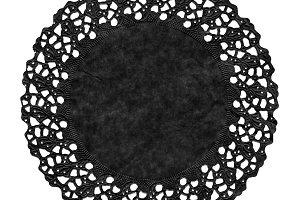 Black Doily isolated over white