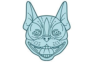 Boston Terrier Laughing Circle
