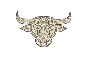 Bull Cow Head Front Mandala