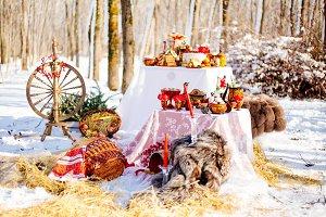 decoration of Russian folk wedding