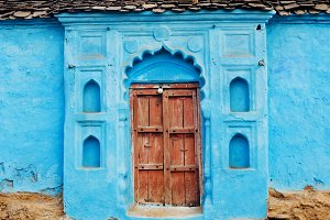 Blue painted house in India