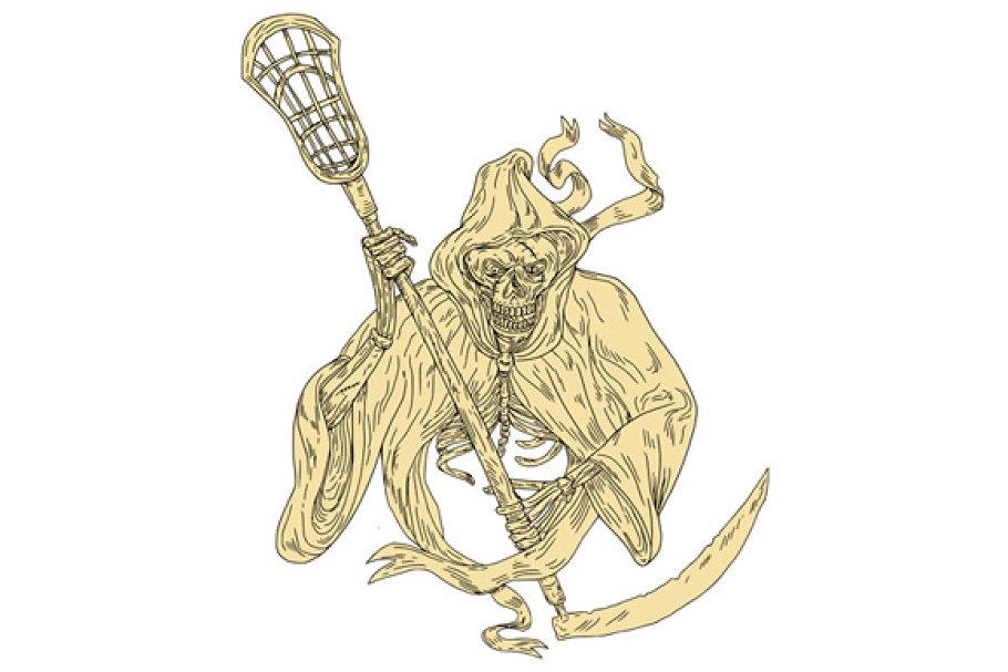 b95099e3b35 Grim Reaper Lacrosse Stick Drawing ~ Illustrations ~ Creative Market