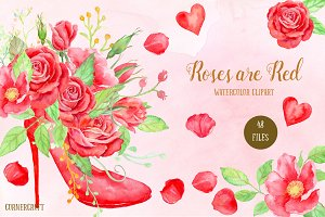 Red Rose Watercolor Clipart