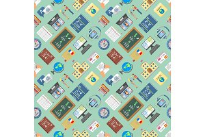 Languages education and school learning seamless pattern