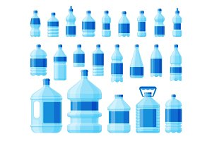 Water bottle set vector.