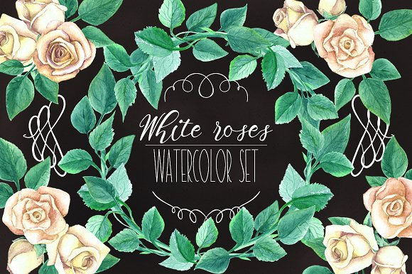 Watercolor White Roses Wedding Set