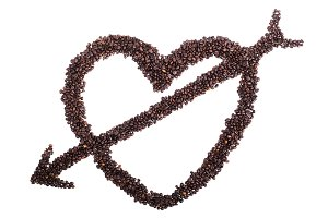 Heart with arrow from coffee beans