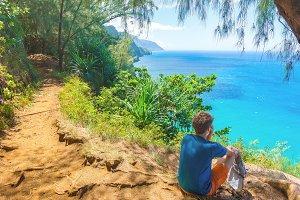 Young hiker in Kalalau trail, Hawaii