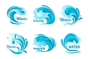 Water splash icons. Vector isolated ocean waves
