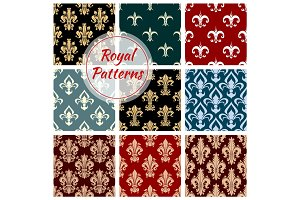 Royal floral seamless patterns set