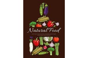 Vegetables vegetarian food vector symbol