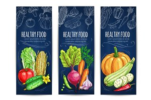 Vegetables sketch. Vegetarian vegetable banners