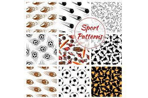 Sport balls, items seamless patterns set