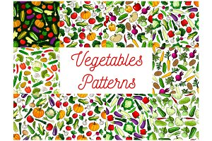 Vegetables patterns set. Vegetarian background