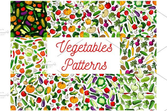Vegetables Patterns Set Vegetarian Background