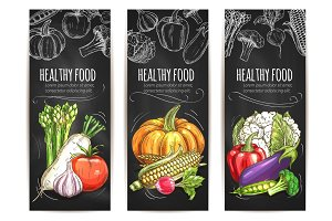 Vegetables. Vegetarian vector sketch posters