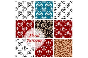 Floral seamless patterns set. Flowery background
