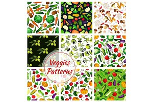 Vegetable, olive fruit, mushroom seamless pattern