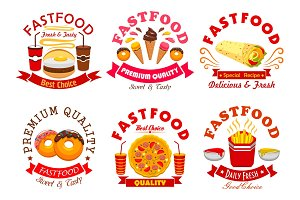 Fast food cafe and pizzeria sign set