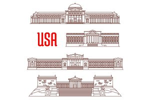 USA travel landmarks icon of architectural sights