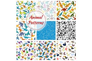 Cartoon vector pattern of dinosaurs, fishes, birds