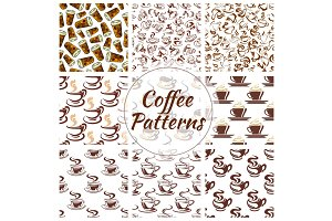 Coffee cup seamless pattern background set