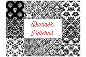 Damask floral ornament seamless pattern set