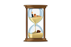Businessman in hourglass. Deadline concept design
