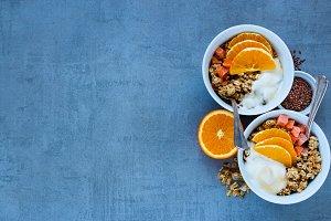 Breakfast yogurt bowls