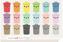 Kawaii Trash Can Clipart